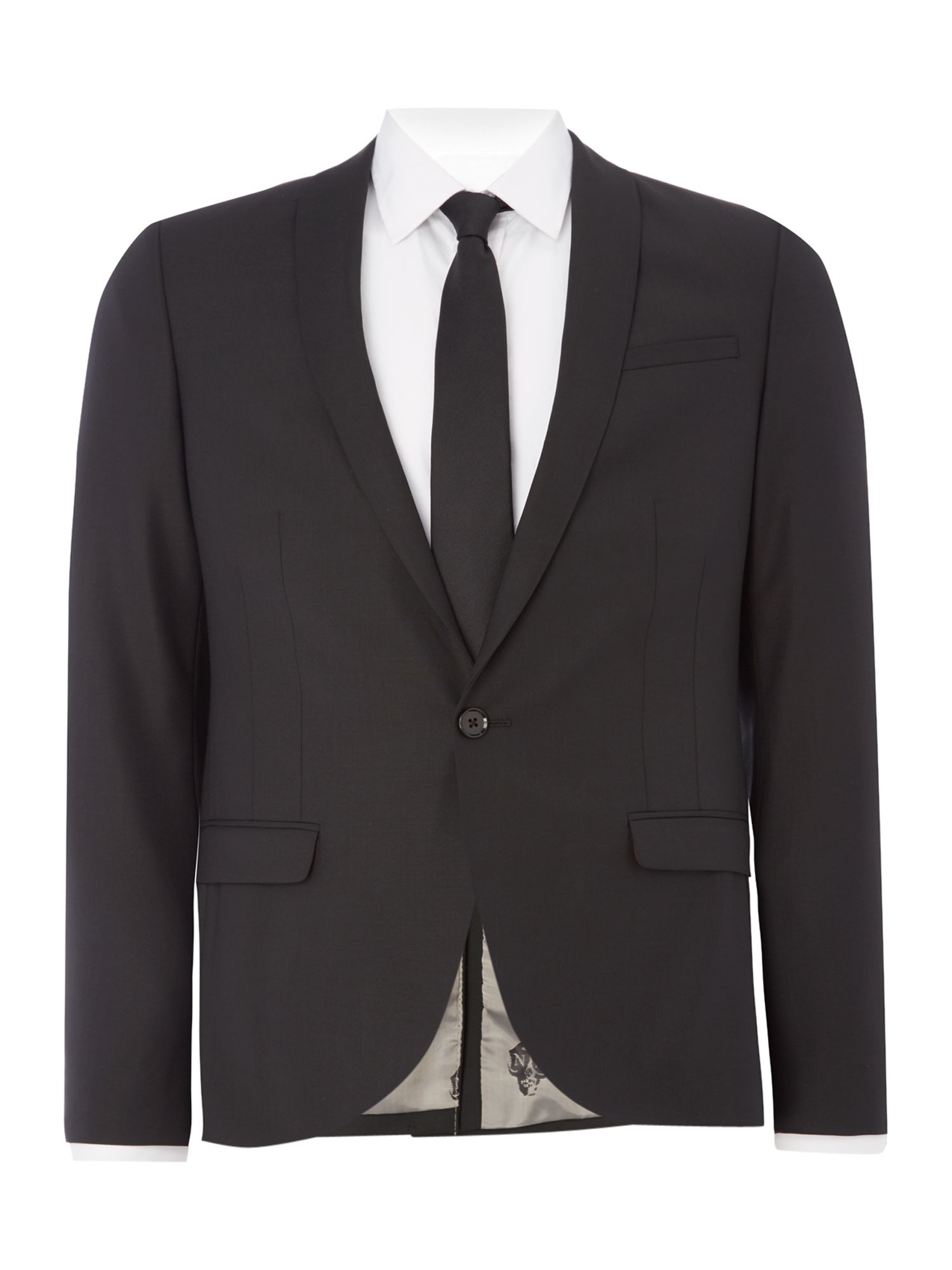 Noose and Monkey Men's Noose and Monkey Skinny Fit Shawl Collar Jacket, Black