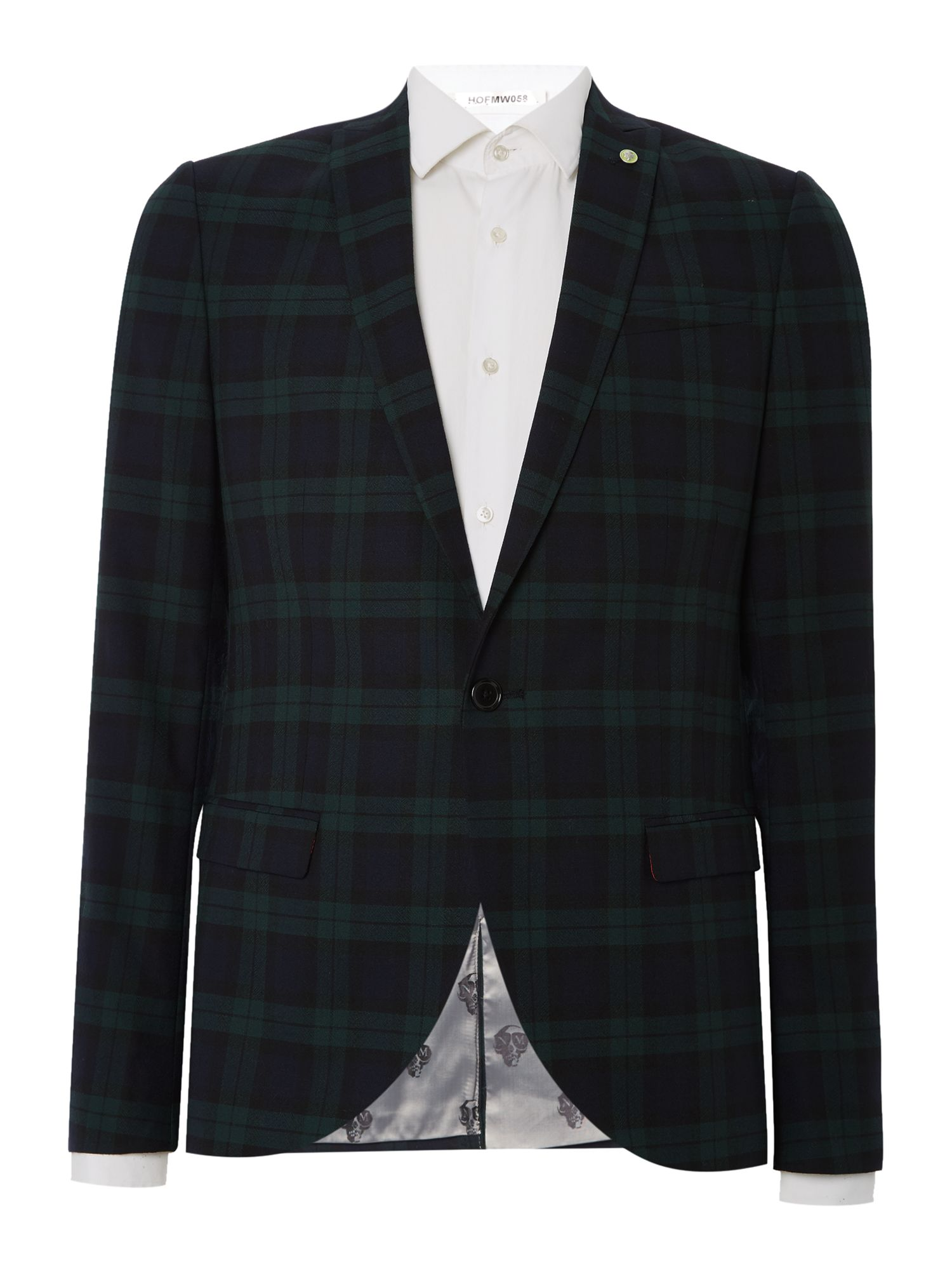 Noose and Monkey Men's Noose and Monkey Tartan Check Suit Jacket, Green