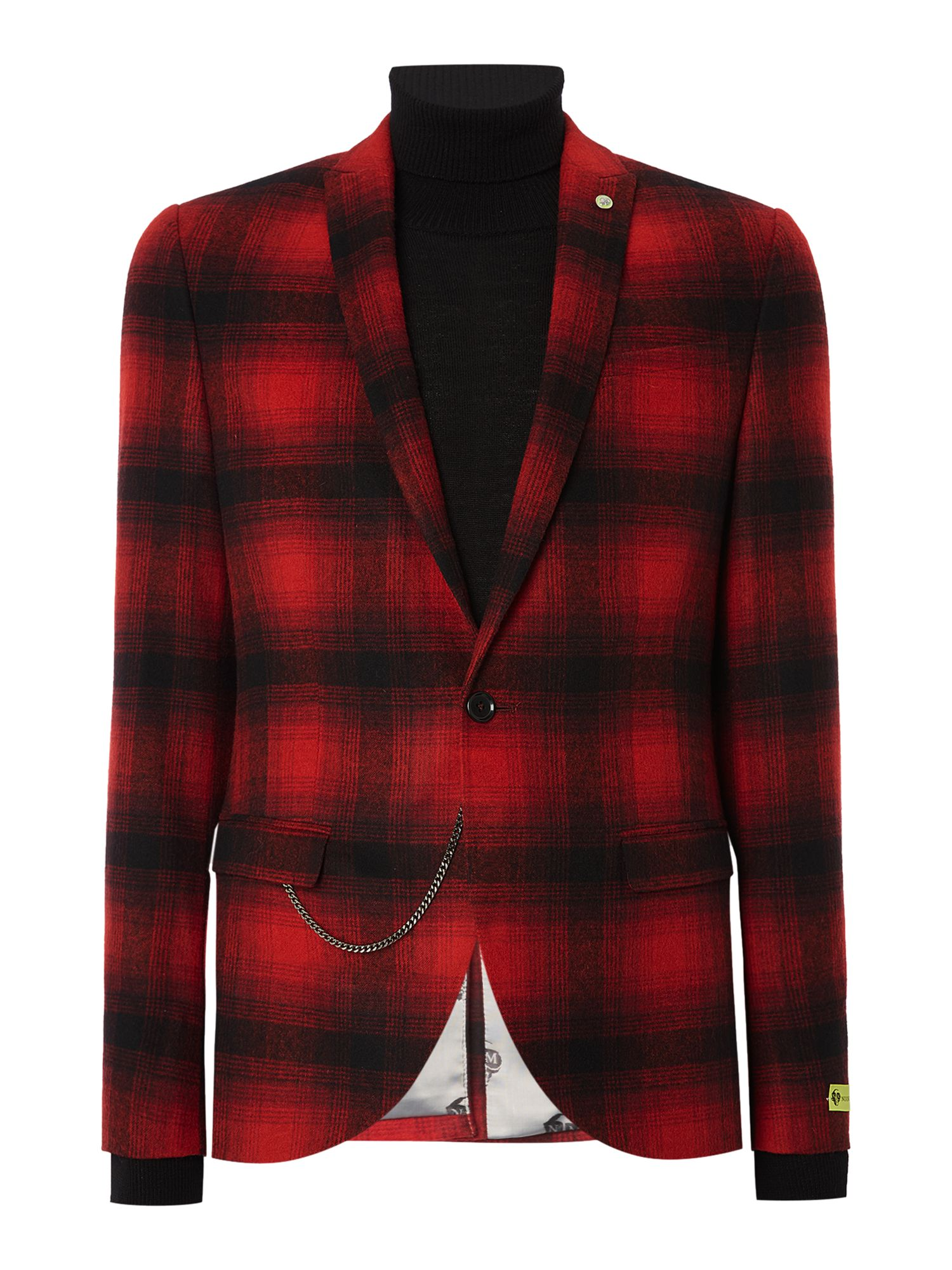 Noose and Monkey Men's Noose and Monkey Skinny Fit Check Suit Jacket, Red