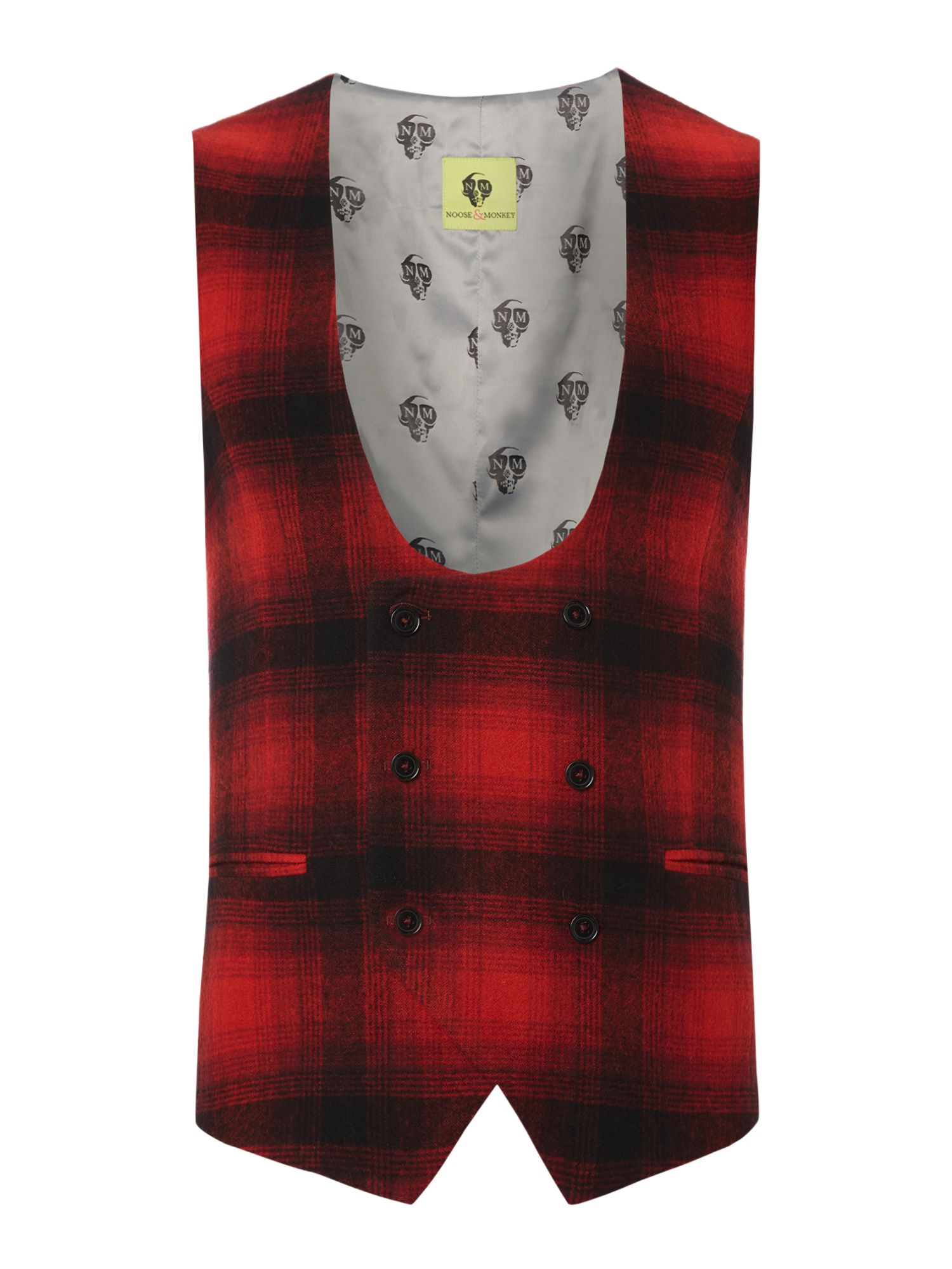 Noose and Monkey Men's Noose and Monkey Double Breasted Waistcoat, Red
