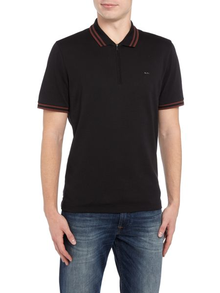 Michael Kors Slim fit tipped zip collar polo shirt