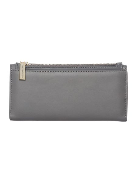 Tommy Hilfiger Smooth leather grey large flapover purse