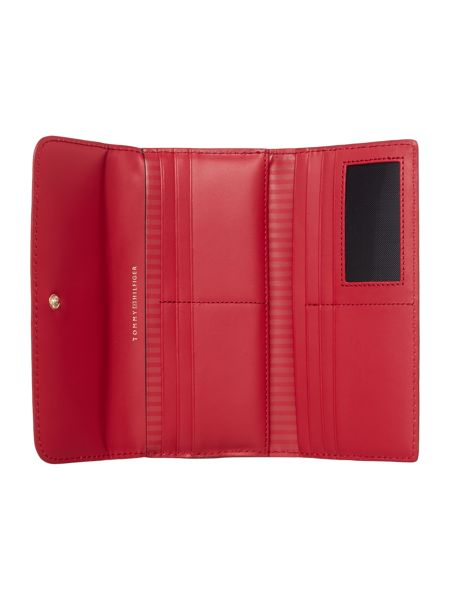 Tommy Hilfiger Smooth red large flapover purse