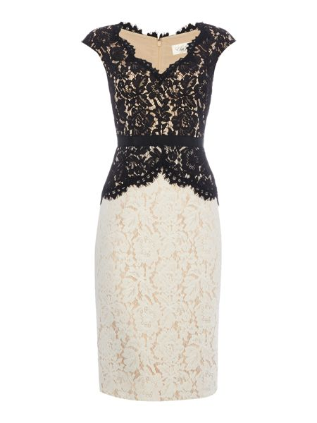 Eliza J Colour block lace dress with peplum
