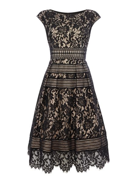 Eliza J Cap sleeve mixed lace midi dress