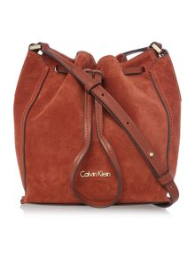 Calvin Klein Keyla tan small suede bucket bag