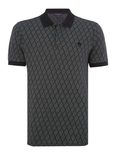 Perry Ellis America Graphic Diamond Stitch Short Sleeve Polo Shirt