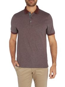 Michael Kors Slim fit tipped birdseye print polo shirt