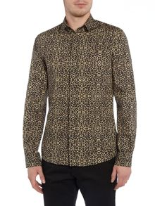 Noose and Monkey Long Sleeve Leopard Print Shirt