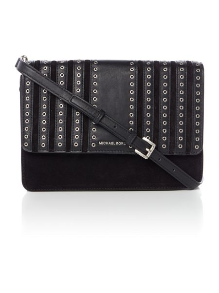 Michael Kors Brooklyn grommet black cross body bag