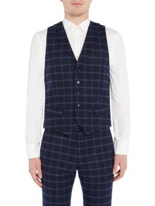 WP Brushed Windowpane Check Waistcoat with Lapels