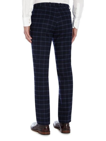 WP Brushed Windowpane Slim Fit Check Trousers