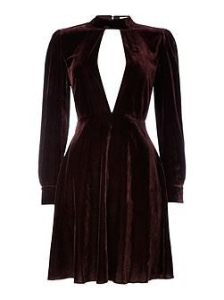 Long Sleeved Collar Cut Out Velvet Dress