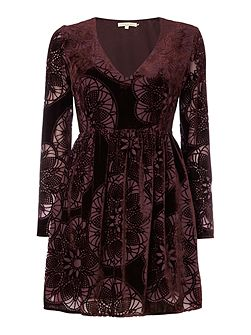 Long Sleeved Devore Velvet Dress