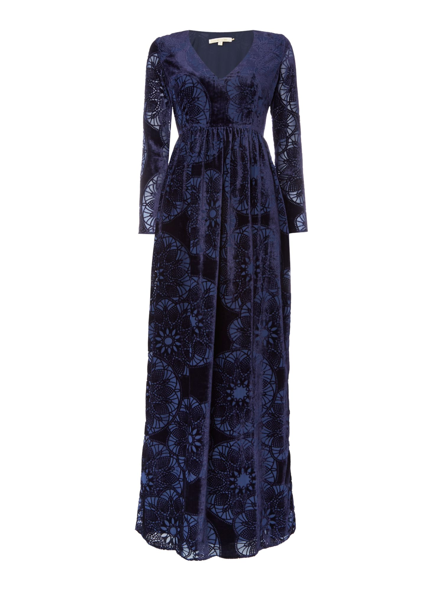 Little White Lies Long Sleeved Devore Velvet Maxi Dress, Blue