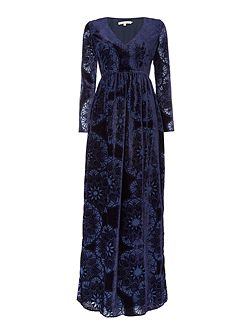 Long Sleeved Devore Velvet Maxi Dress