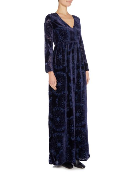 Little White Lies Long Sleeved Devore Velvet Maxi Dress