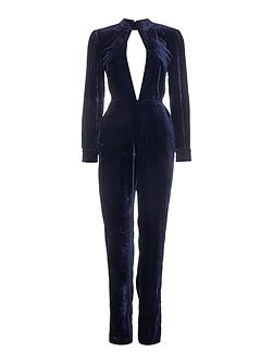 Long Sleeved Collared Cut Out Jumpsuit