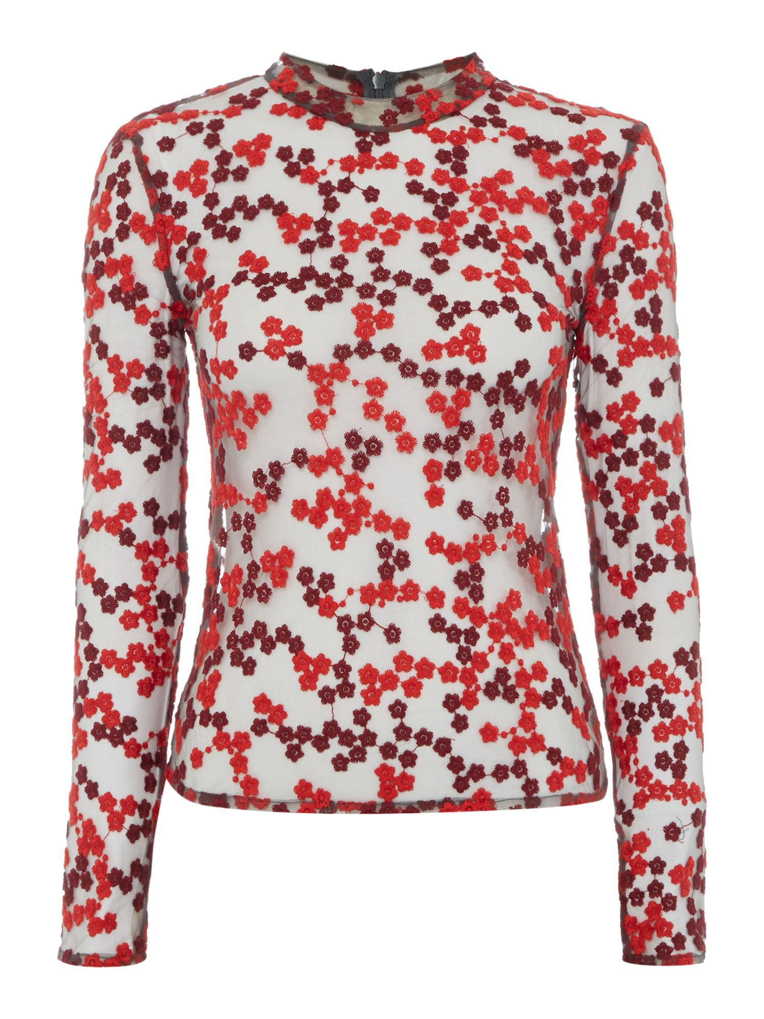 Little White Lies Little White Lies Long Sleeved High Neck Sheer Printed Top, Red
