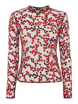 Long Sleeved High Neck Sheer Printed Top