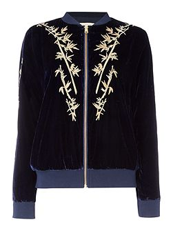 Long Sleeved Embroidered Zip Bomber Jacket