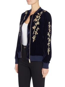 Little White Lies Long Sleeved Embroidered Zip Bomber Jacket