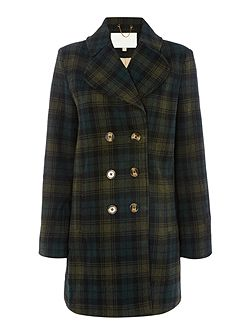 Long Sleeved Check Coat