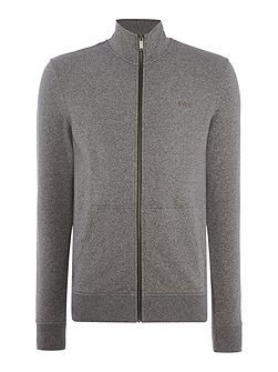 Zip-up funnel neck fleece sweat top