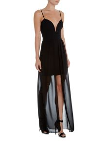 Wal-G Sleeveless Overlay Maxi Dress