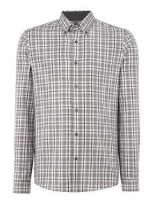Michael Kors Slim fit large checked long-sleeve shirt