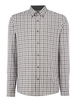 Slim fit large checked long-sleeve shirt