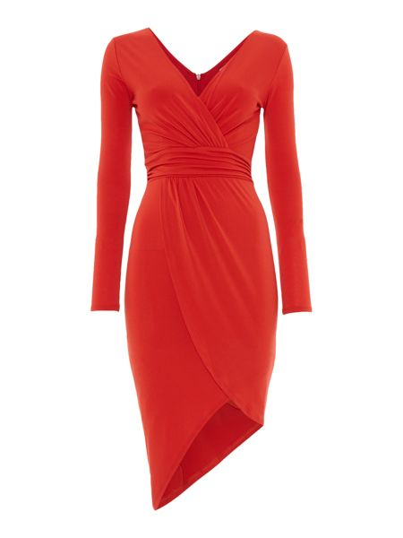 Wal-G Long Sleeved V Neck Wrap Dress