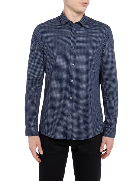 Michael Kors Slim fit small geo printed long-sleeve shirt