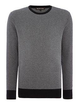 Jacquard knitted crew neck jumper
