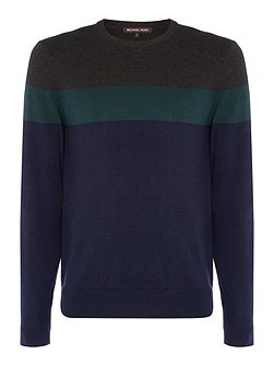 Block striped wool blend crew neck jumper