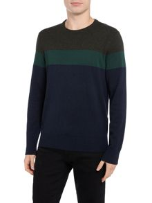Michael Kors Block striped wool blend crew neck jumper