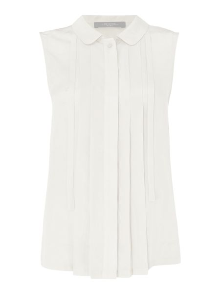 Max Mara ROSITA sleeveless silk blouse with front pleats