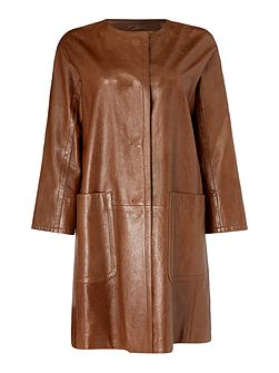 TAVERNA collarless leather coat