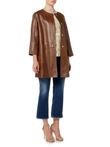 Max Mara TAVERNA collarless leather coat