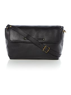 Jenna black medium flapover crossbody bag