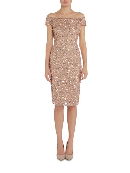 Adrianna Papell Beaded Off Shoulder Cocktail Dress