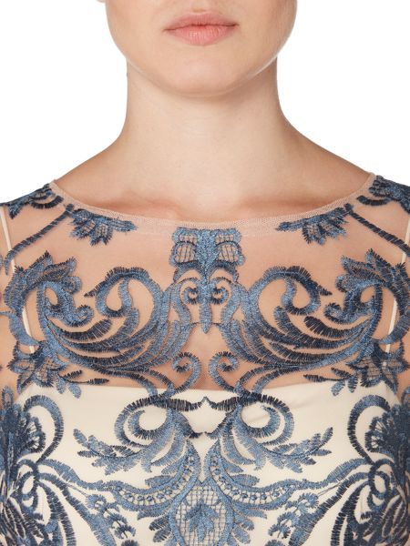 Adrianna Papell 3/4 Sleeves Lace Emellished Dress