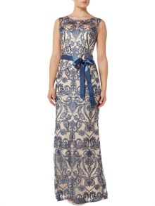 Adrianna Papell Cap Sleeve Lace Gown with Sash