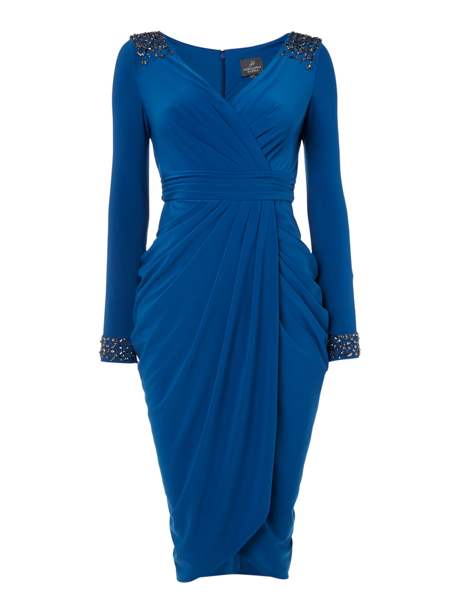 Adrianna Papell Beaded Cuff Wrap Dress, Sapphire