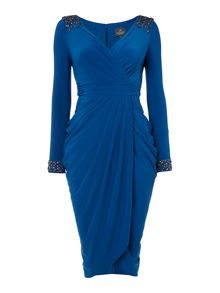 Adrianna Papell Beaded Cuff Wrap Dress
