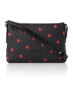 Black heart small crossbody bag
