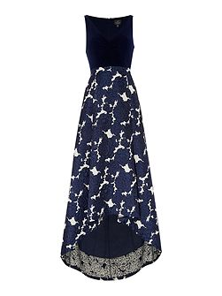 Jersey top jacquard High Low gown