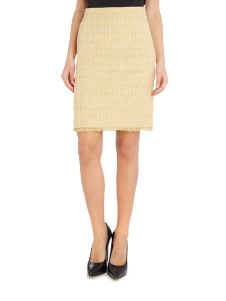 Max Mara FASTOSO Knee length boucle skirt with freyed hem