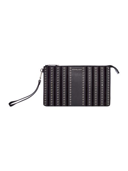 Michael Kors Brooklyn Grommet black wristlet clutch bag