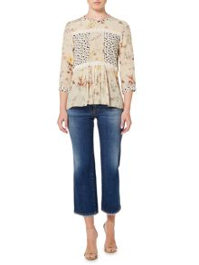 Max Mara TOBIA 3/4 sleeve silk blouse with floral print